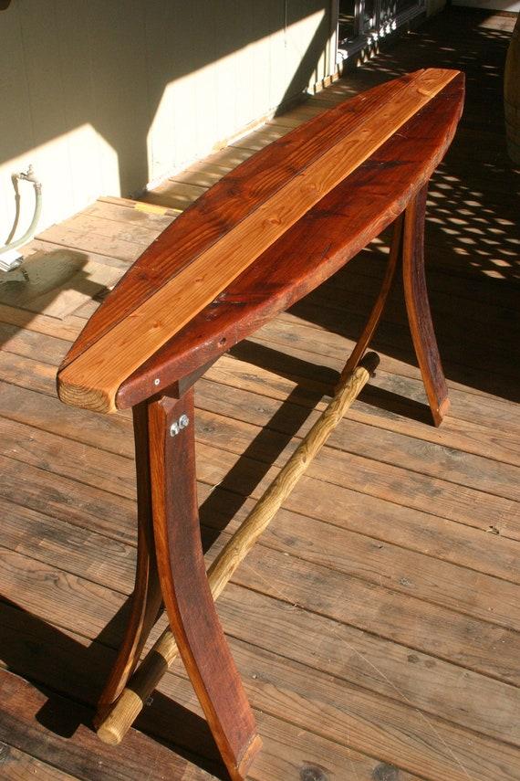 Items similar to reclaimed wood surfboard bar table on etsy watchthetrailerfo