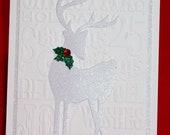 Elegant White Reindeer Handmade Christmas Card