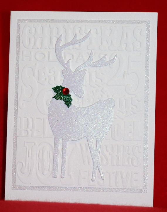 Elegant white reindeer handmade christmas card for Elegant homemade christmas cards