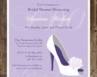 wedding Shoe Bridal Shower Invitation, printable file