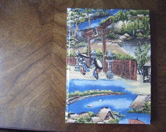 Journal - Asian-inspired scene - Fabric-wrapped Hardcover with Unlined Pages, Hand-Sewn, Hand-made