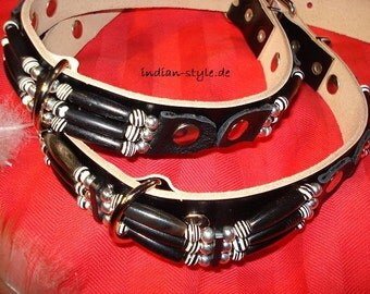 Dog collar full leather in American Indian style