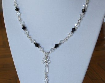 Swarovsky black and crystal bicone necklace with silver wire focal 0269NK