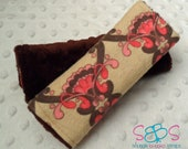 Light Brown Pink Hot Pink Damask & Chocolate Brown Minky Car Seat Strap Covers