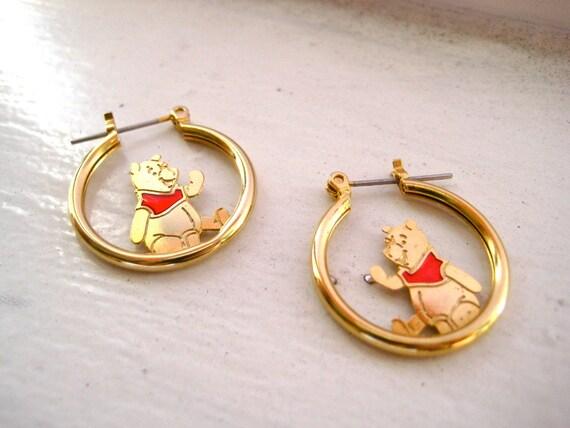 vintage disney winnie the pooh hoop earrings by tvhcloset