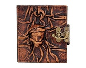 Woman Face On A Brown Refillable Mini Leather Diary / Lock / Sketchbook / Notebook / Journal