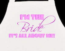 Hen Party Aprons, great for your foody hen do. Cupcake Queen, hen party, im the bride