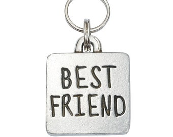 Pewter Square Pet Tag - Best Friend