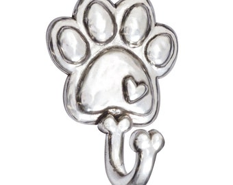 Pewter Paw Leash Hook - With Heart