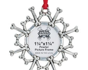 Pewter  Pet Ornament - Snowflake/Frame