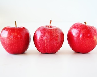 Three Apples Fine Art Photography - Pink, Red, Food, Kitchen Wall Decor - Three of a Kind