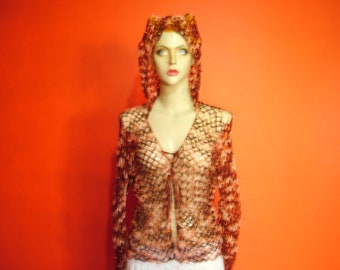 gold hoodie top with gold beading