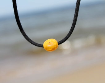 Amber Cord Necklace Honey Cognac Baltic Charm Natural Men Jewelry Unisex Fossil Sunny Black Minimalist Jewelry Beach Fashion gift for him