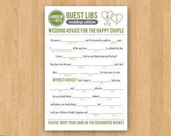 DIY Printable Wedding Mad Libs Guestbook - Colors Customizable