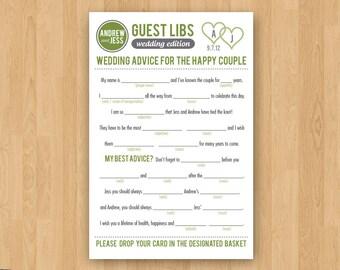 DIY Printable Wedding Mad Libs Guestbook - Colors Customizable