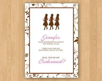 Pink & Brown DIY Custom Printable Bridesmaid Invitation