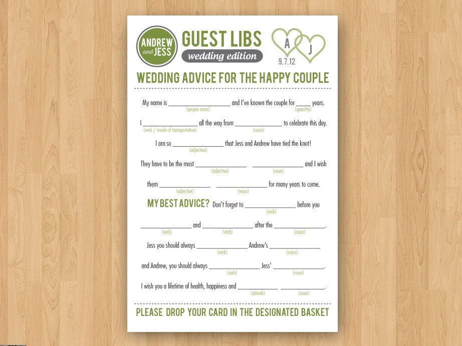 Decisive image with printable wedding mad libs