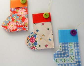 Set of Three Floral Origami Christmas Stocking Ornaments (Set 1)