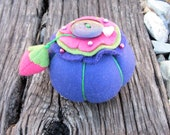 Felted Wool Flower Top Pin Cushion With Pin Sharpener