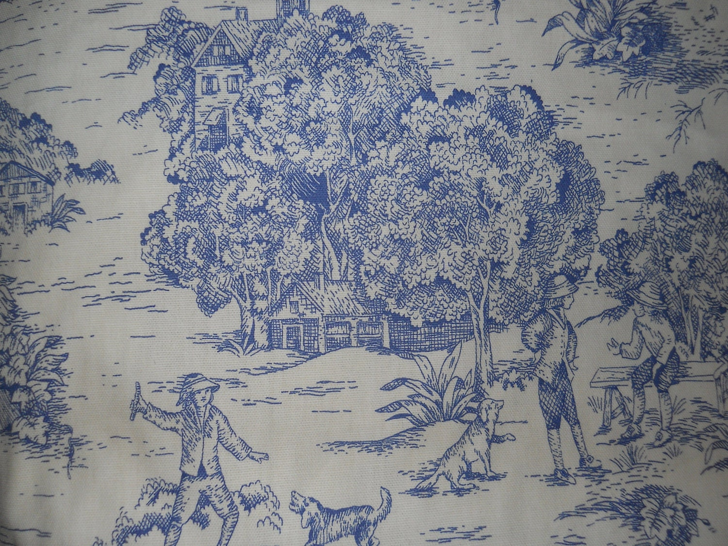 Blue french toile fabric french country home decorative for French toile fabric