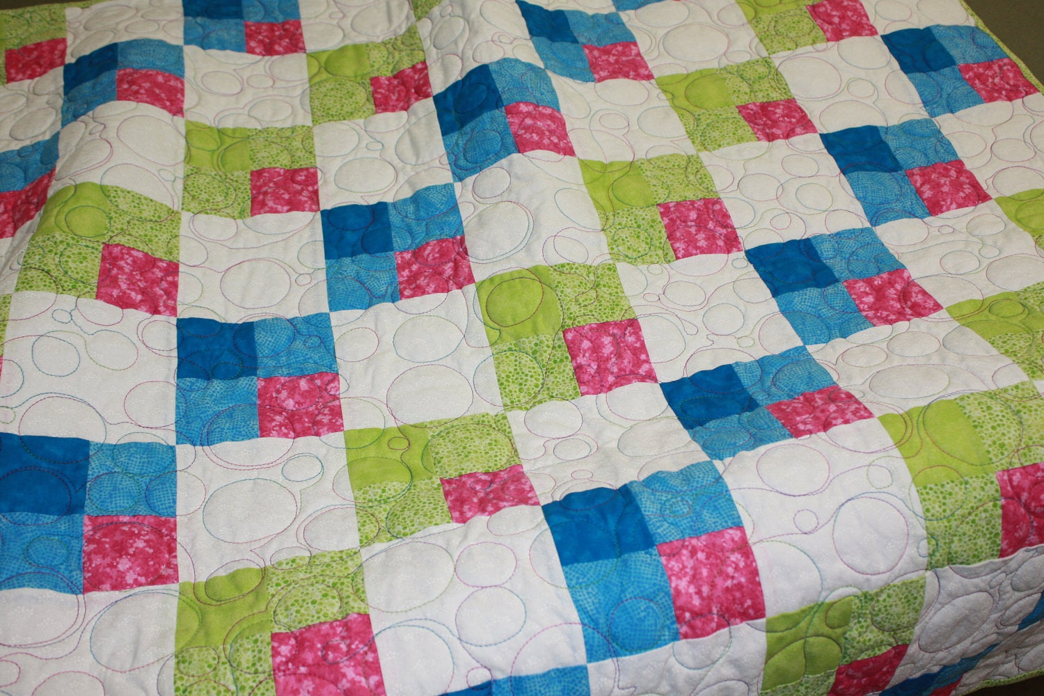 Baby Gift Quilt : Baby girl quilt lap throw shower gift geometric home decor