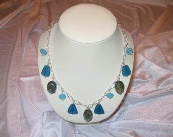 Chinese Crystals and Seaglass Necklace