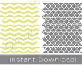 Printable cupcake or drink straw flags INSTANT DOWNLOAD yellow chevron and gray party decor printables DIY