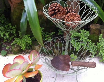 Vintage  Style Two-Tier Wire Basket