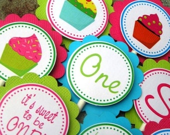 Cupcake Birthday Party - 20 Cupcake Toppers - Swee to be ONE, TWO, or Three
