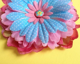 Shades of Pink & Blue with White Polka Dots Flower Hair Clip