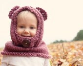 Hand knit children's hooded bear cowl
