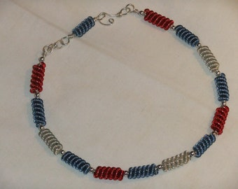 Red white and blue patriotic spiral necklace