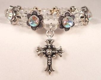 Swarovski Crystal AB (Rainbow Highlights) Daisy Prayer Bracelet 7-3/8 inch