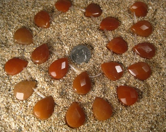 Red Aventurine Faceted Teardrop Briolette 10 Beads Large 20X15mm Top Drilled, Half Strand. Focal Bead.
