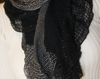 Ruffle Scarf Black And Gray  Long Scarf Fashion