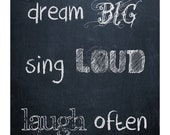 happy thoughts 8x10 vintage faux chalkboard style poster