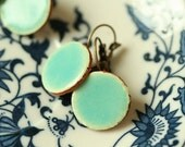 Ceramic earrings - light turquoise/blue & silver or brass metall