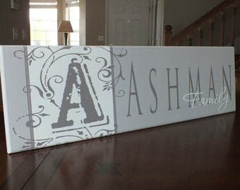 "Personalized family name sign Established Sign Monogram 7""x24"""