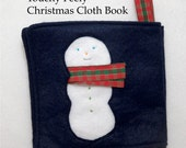 Touchy Feely Christmas Cloth Book with Textures and Gift Pocket, Handmade Quiet Book