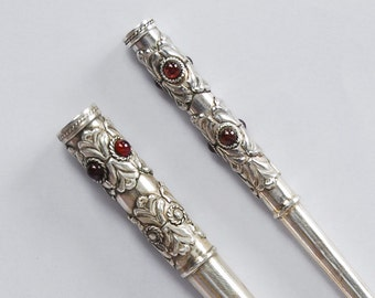 Cigarette Holder Set in Sterling Silver, Silver Holders for Slim Cigarette and Regular Cigarette Made of Solid Silver & Natural Garnet Stone