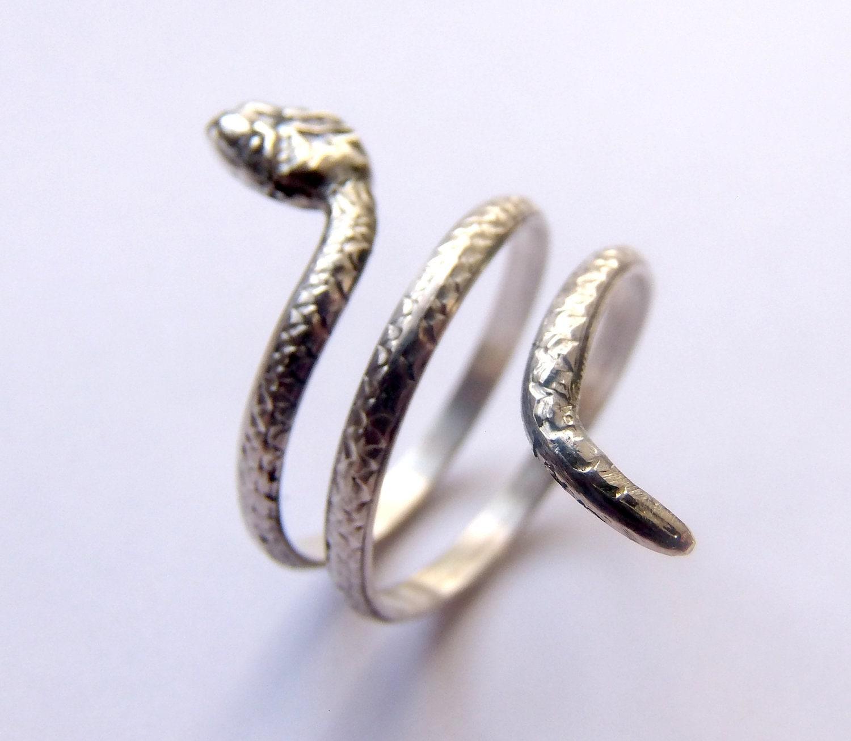 silver snake ring snake jewelry snake wrap ring animal