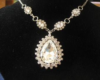 Teardrop Bridal Wedding Chandelier Jewelry Rhinestone Crystals Necklace