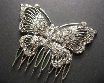 Butterfly Bridal Wedding Bridesmaids Gift Glass Rhinestone Crystals Hair Comb