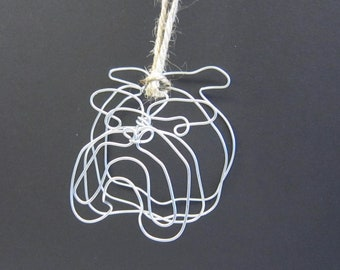 Bulldog Head Wire Ornament