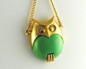 Vintage Medium Size Owl Pendant 1960s - ErikasCollectibles