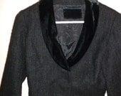 Vintage 50's Crop Top Black Tweed Blazer with Velvet Collar