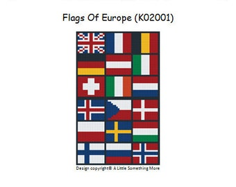 MosaiCraft Pixel Craft Mosaic Art Kit 'Flags of Europe' (Like Mini Mosaic and Paint by Numbers)