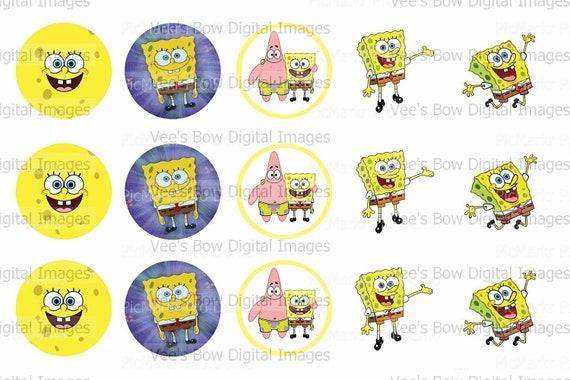 Spongebob Bottle Cap Images 4x6 Digital By