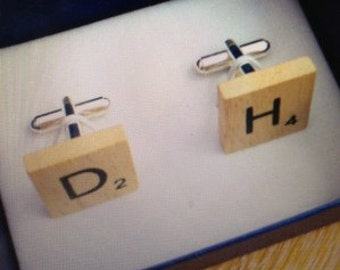 Handmade Scrabble Tile Cufflinks - Wooden on Silver Plated Findings. Any Initials. Great Christmas Gift or Wedding Favour