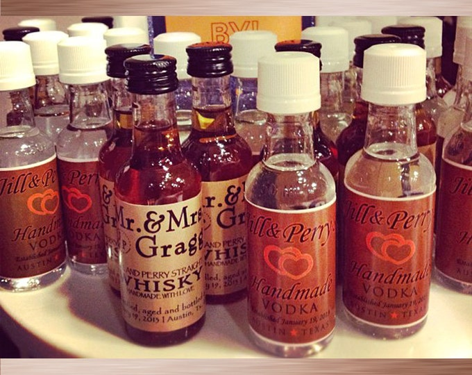20 MINI BOTTLE LABELS - mini liquor bottle favors